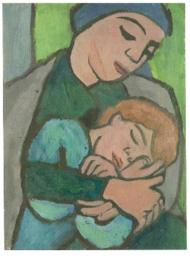 Moeder met slapend kind, Gabriele Münter