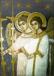 Engelwezen uit de hemelse hierarchiën, fresco uit koepel van kloosterkerk Roemenië