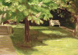 Tuinbank onder de kastanjeboom, Max Liebermann