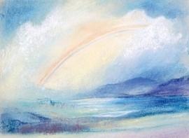 Regenboog in landschap, Marjan van Zeyl