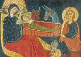 Geboorte van Christus,  Altaar antependium uit Santa Maria kerk, Avia