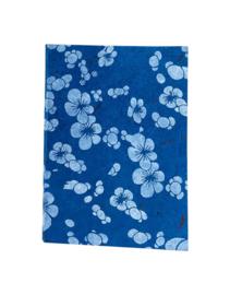 Olino Paperworks, Notebook met Japanse bloemenprint, Blauw