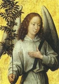 Engel met twijg van olijfboom, Hans Memling