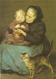 Grootmoeder, kind en kat, H. Thoma