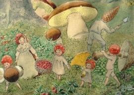 Kabouterkinderen verzamelen paddenstoelen, Elsa Beskow