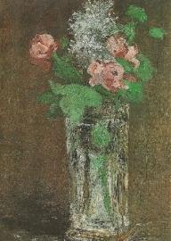 Bloemen in een kristallen vaas, Edouard Manet