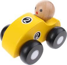 Houten race auto geel ( 10 cm lengte)