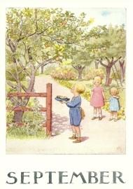 September, maandkaart Elsa Beskow