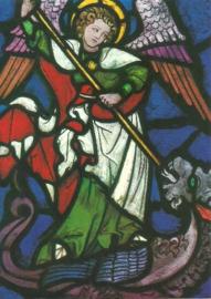 Aartsengel Michael, glasvenster uit 1600, Chiemsee