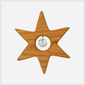 Houten ster met kristal (10cm)