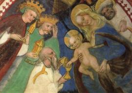 Aanbidding van de Koningen, muurschilderkunst 15de eeuw