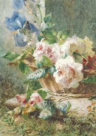 Stilleven met irissen en rozen in mand, E. Bucchi