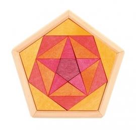 Pentagon orange/rood/geel 21 stukjes