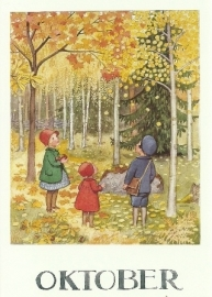 Oktober, maandkaart Elsa Beskow