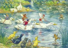 Elfenwedstrijd op eenden, Margaret W. Tarrant