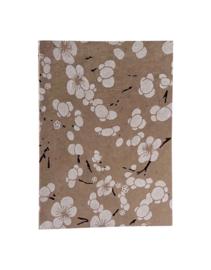 Olino Paperworks, Notebook met Japanse bloemenprint, Beige