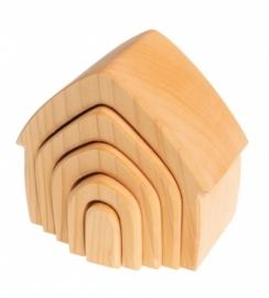 Blank houten huisje 5-delig