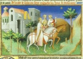 De heilige Drie Koningen rijden naar Bethlehem, boekschilderkunst