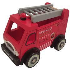 Houten brandweerauto met ladder