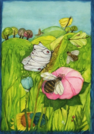 Bijen, bloemen en vlinder, Eva-Maria Ott-Heidmann