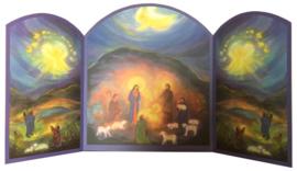 Drieluik heilige familie met herders, Gertrud Kiedaisch