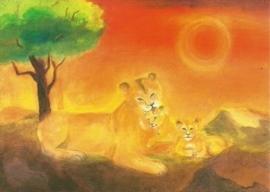 Leeuwenmoeder met twee jongen, Dorothea Schmidt