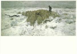 Kudde schapen met herder in de sneeuw, Anton Mauve