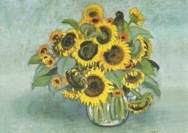 Zonnebloemen in glazen vaas, Heide Dahl