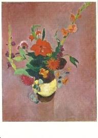 Boeket met gladiolen op rose achtergrond, August Macke