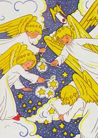 Engelen met kaarsje en sterren, Rie Cramer