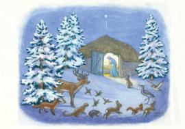 Dieren in de sneeuw kijken naar Maria en Jezus in de stal, Molly Brett