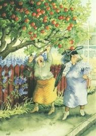 Vrouwen schudden appels uit de boom, Inge Löök