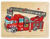 Houten noppenpuzzel brandweer