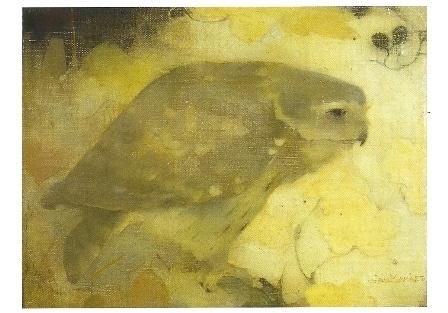 Roofvogeltje op tak, Jan Mankes