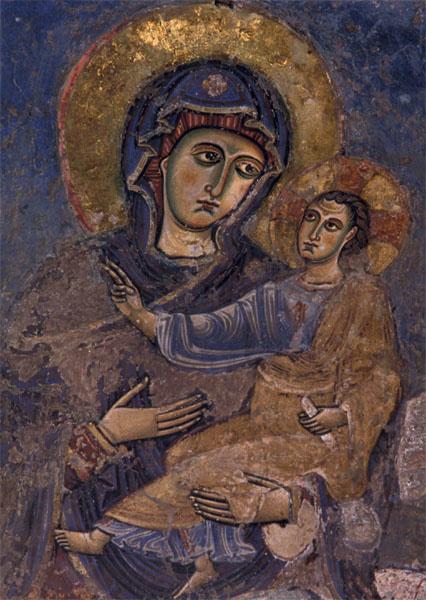 Madonna met kind, fresco 1110, Rome