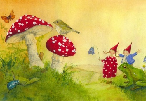 Pippa en Pelle met paddenstoelen, Daniela Drescher, kaart