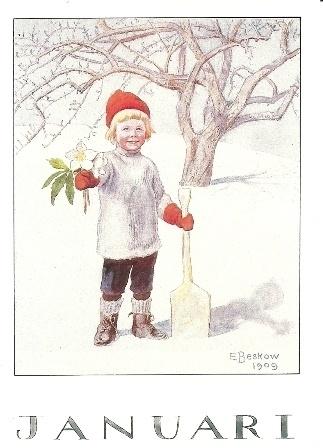 Januari, maandkaart Elsa Beskow