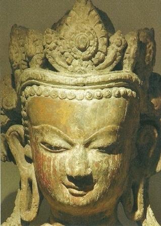 Gekroonde Boeddha, detail, Nepal