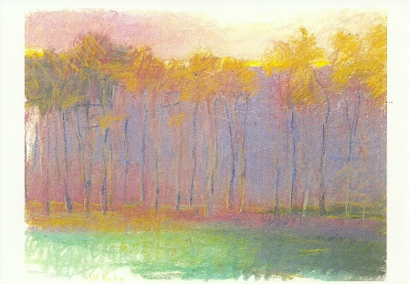 A strange violet behind trees, Wolf Kahn