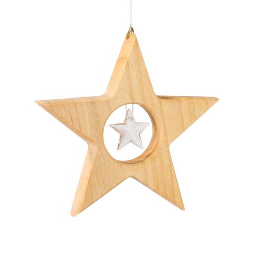 Houten ster met kristal (9cm)