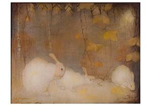 Witte konijnen in herfstbos, Jan Mankes