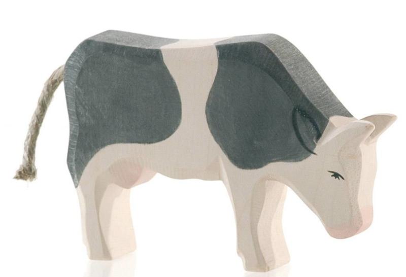 Koe zwart-wit etend