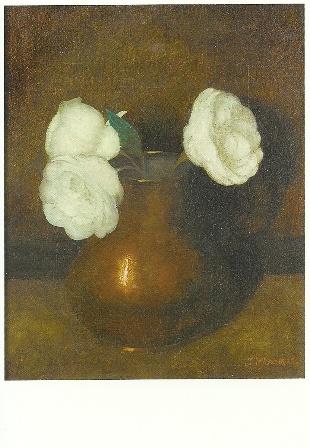 Stilleven van Camellias in een koperen pot, Jan Mankes