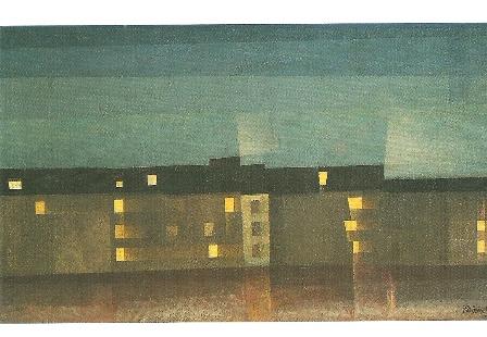 Verlichte huizenrij, Lyonel Feininger