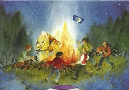 Rond het vuur, vuurgeesten, draaikaart Christiane Lesch