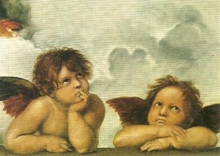 Twee engelen (detail uit Sixtijnse madonna), Rafael