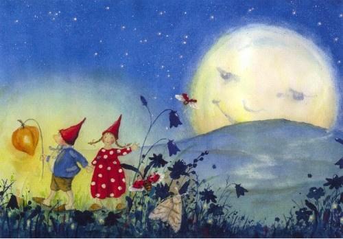 Pippa en Pelle met maan, Daniela Drescher, kaart