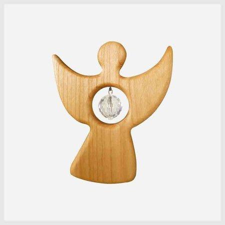 Houten engel met kristal (8,5cm)