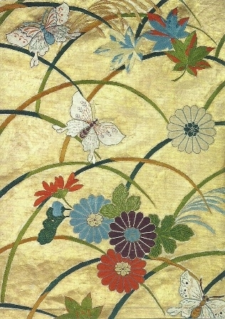 Japanse stof met bloemen en vlinders