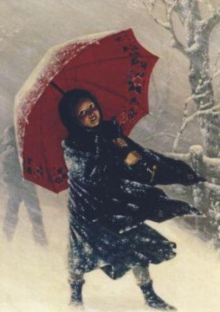 Kinderen in sneeuwstorm, Carl Kronberger